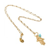 Fatima hand gold filigree with Amazonite (582)