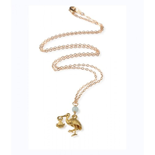 Stork Bringing Baby Pendant gold plated with Amazonite. (849)