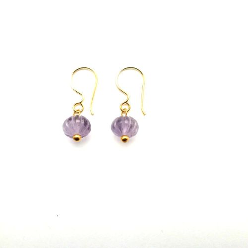 Amethyst carved pumpkin earrings - Gold Plated - Mirabelle