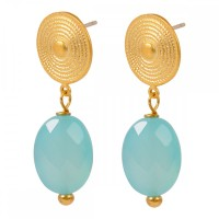 Etruscan Chalcedony stud earrings Blue - Gold Plated - Mirabelle