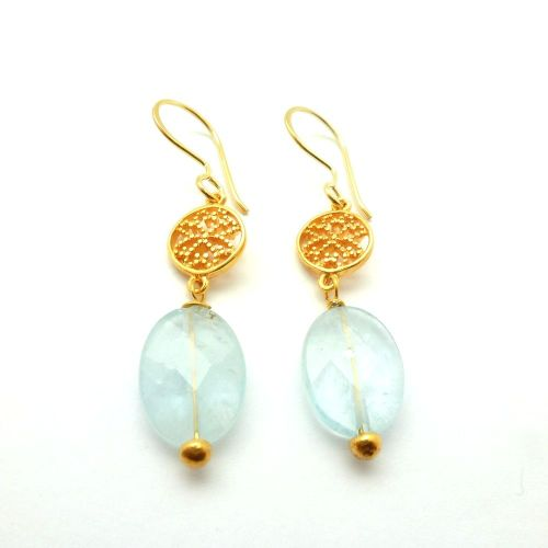 Aquamarine Valflower earrings Blue - Gold Plated - Mirabelle