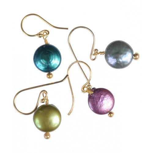 Pearl Earrings Lime Green - Gold Plated - Mirabelle (Carita)