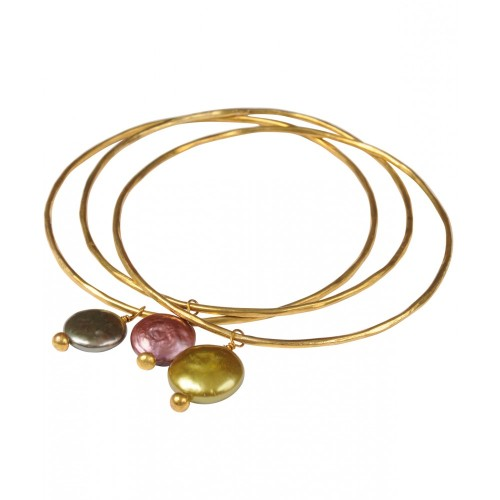 Pearl Charm Bangle Lime Green - Gold Plated - Mirabelle (Bianca)
