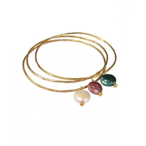 Pearl Charm Bangle WHITE - Gold Plated - Mirabelle (Bianca)