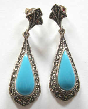 Turquoise silver earrings Persian (TIRE09)