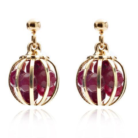 Gemstone Cage earrings Gold Plated with Ruby Jade (RED)