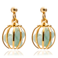 Gemstone Cage earrings Gold Plated with Amazonite (MINT)