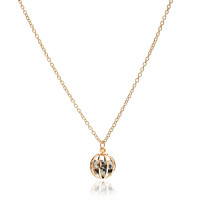 Gemstone Cage necklace Gold Plated with Dalmation Jasper  (CREAM & BLACK)