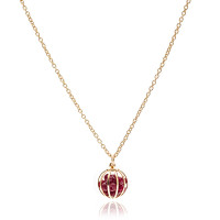 Gemstone Cage necklace Gold Plated with Ruby Jade (RED)