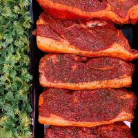 Minted lamb steaks