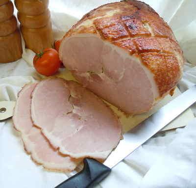 Honey roast cooked ham joint