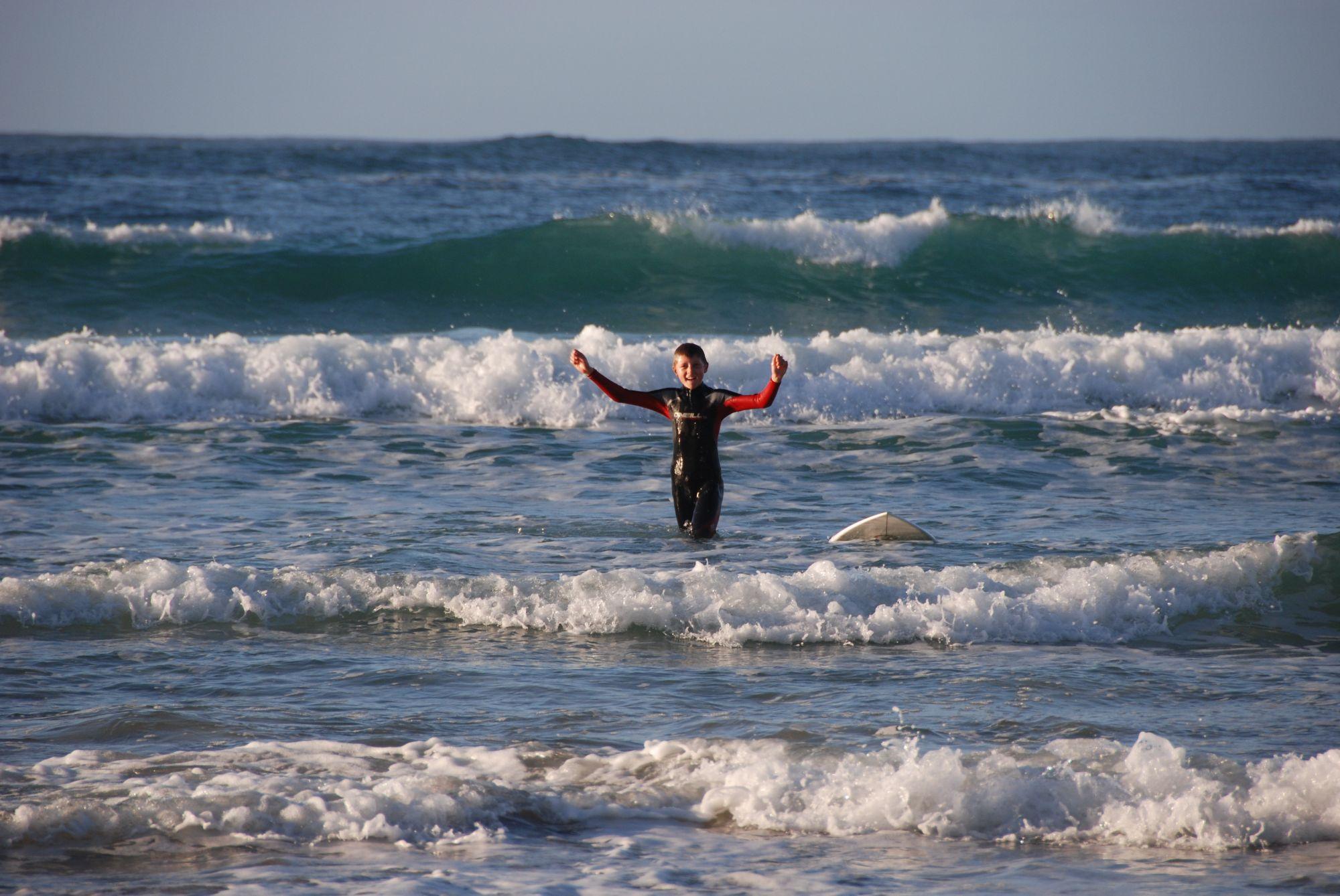 Surfing in Sennen Cove