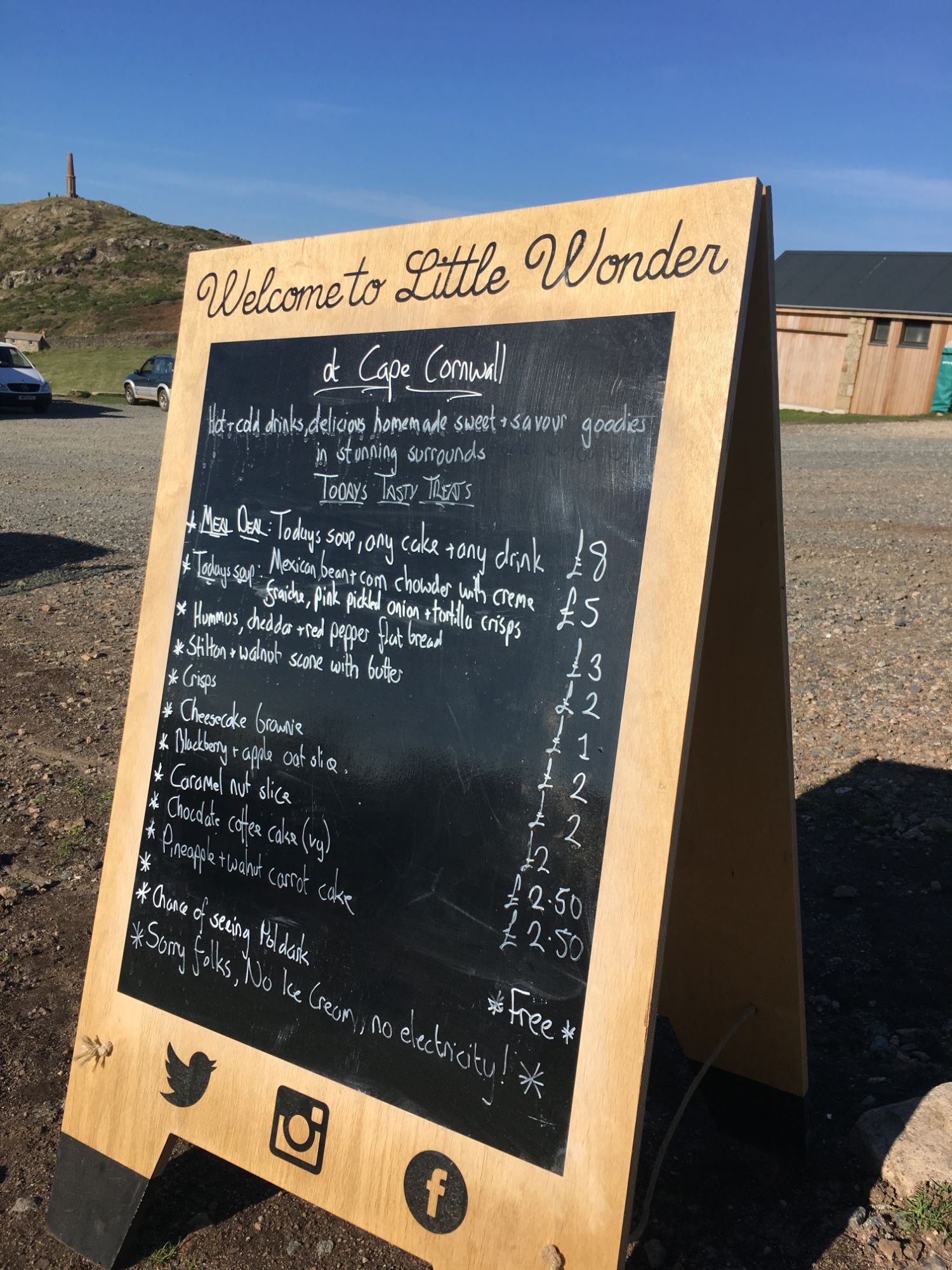 Little Wonder Caravan Cape Cornwall Menu