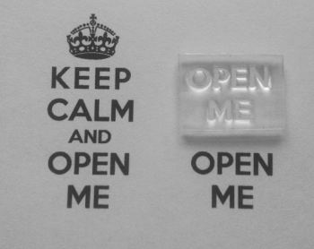 Open Me, for Keep Calm and, stamp