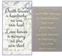 Death leaves a heartache, sympathy stamp
