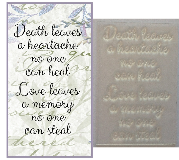 Death Leaves A Heartache Sympathy Verse Stamp