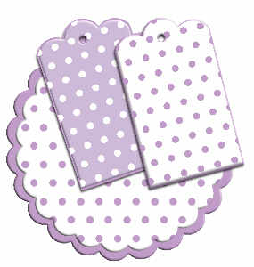 Digi Scallop circle and tags, lilac dots
