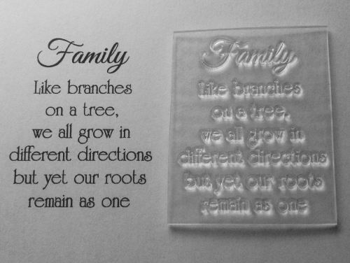 Family, like branches on a tree, verse stamp