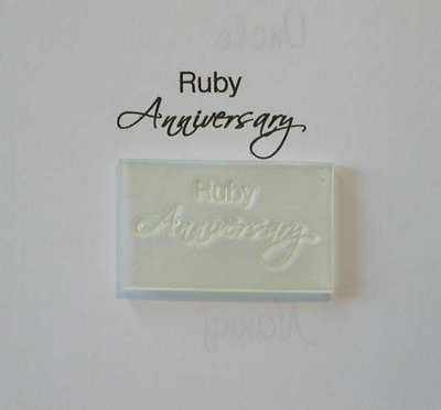 Ruby Anniversary, script stamp