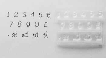 Number stamps, small freehand font with ordinals