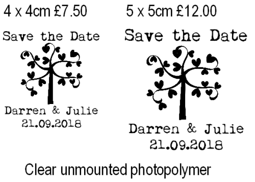 Save the Date heart tree custom stamp