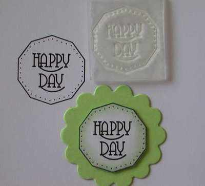 Happy Day, shaped circle stamp
