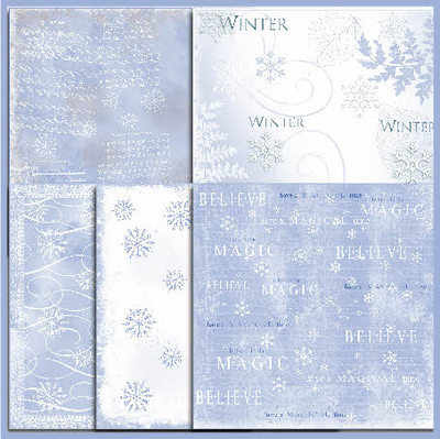 Shabby Paper pack, Christmas blues
