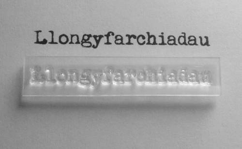 Welsh Congratulations stamp in typewriter font