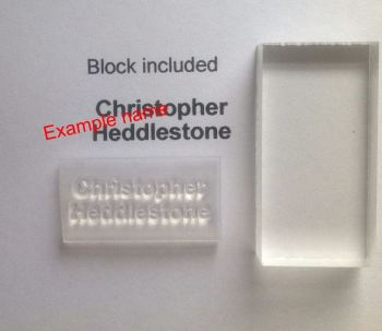 Name stamp for school labels with block