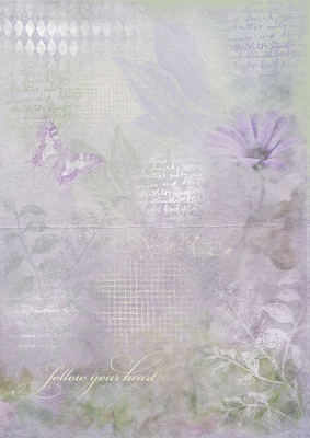 Lilac Floral & Script backing paper