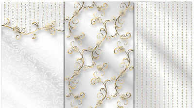 white wedding papers with gold cu