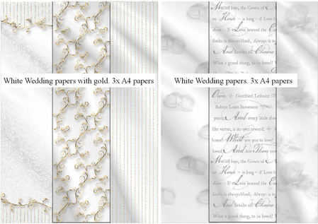 white wedding papers