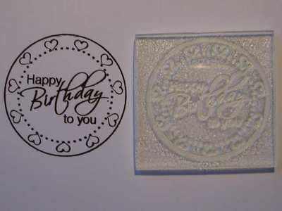 Heart frame Birthday circle stamp