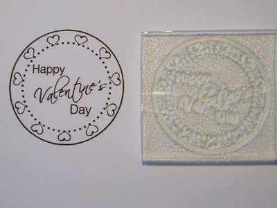 Heart frame Valentine's Day circle stamp