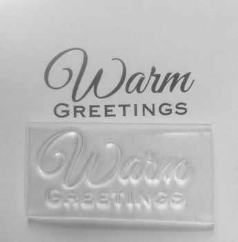Warm Greetings script stamp