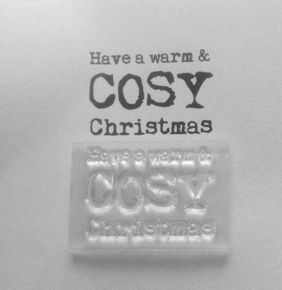 Warm cosy  Christmas typewriter stamp