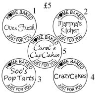 Home Baked by, personalised circle stamp £5
