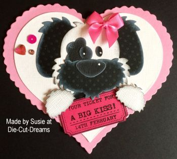 A Big Kiss Ticket stamp to fit Tim Holtz die