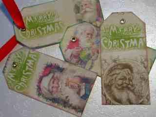 vintage santa tags