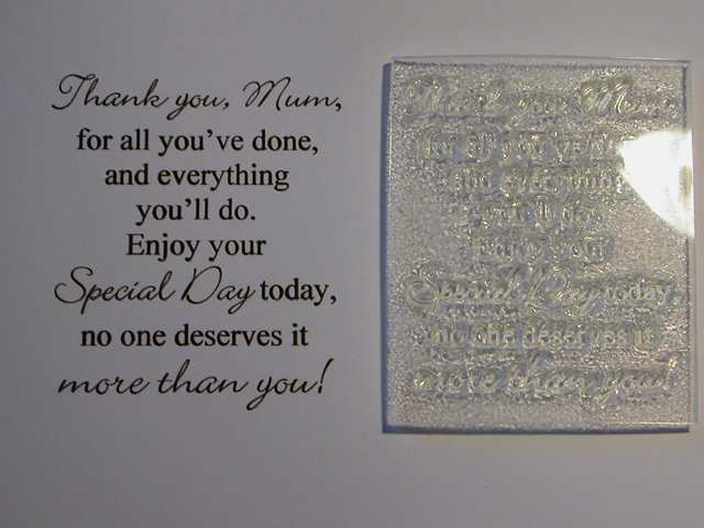 Thank You Mum Verse Stamp Mothers Day Or Birthday Card