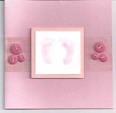 Pink Baby card with stamped footprints