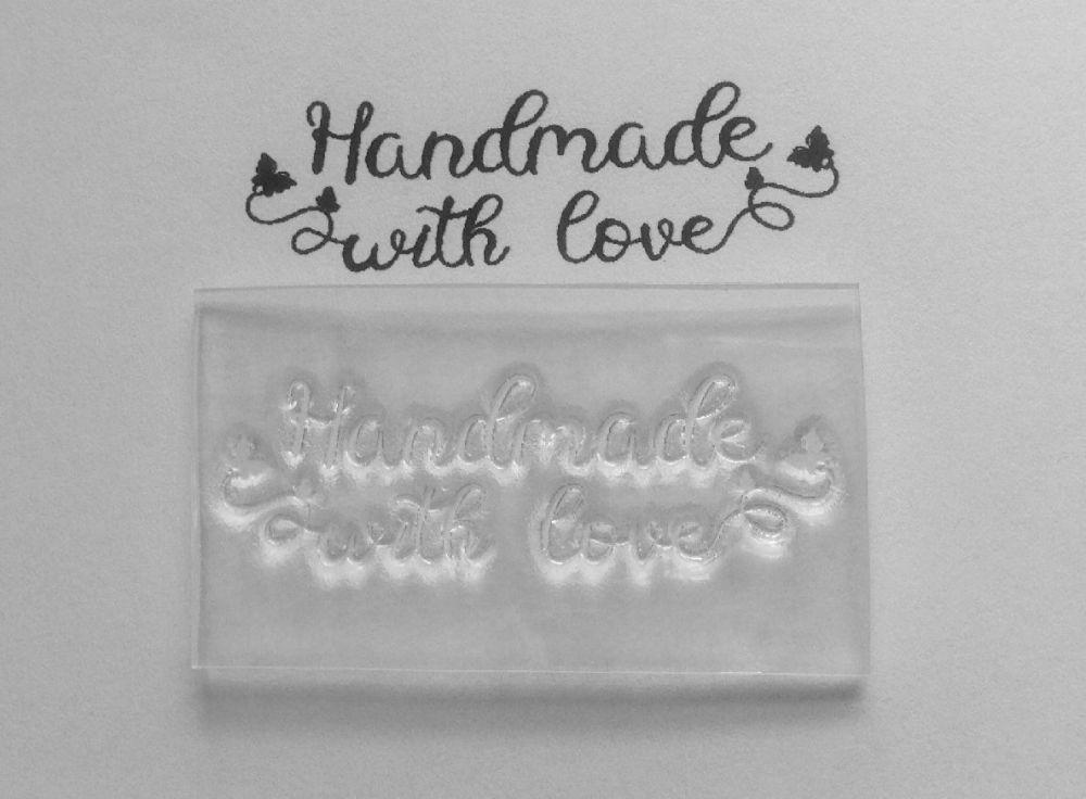 Handmade with love, butterflies stamp