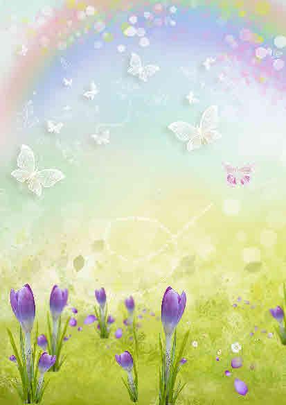 rainbow and flowers digi paper