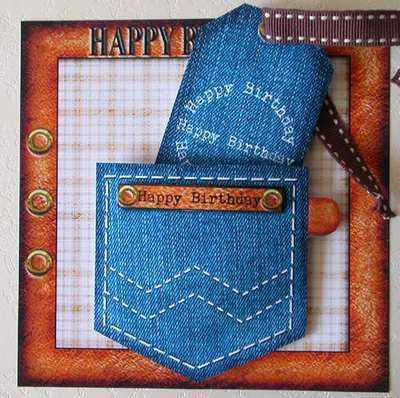 Digi Birthday Topper for Men, Leather & Denim Pocket