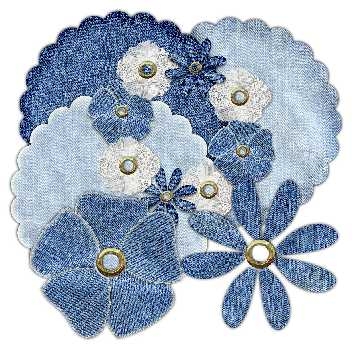 Denim Scallops and Flowers