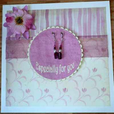 Gift card with Pink Earrings