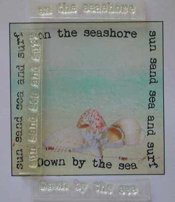 Summer Beach text stamps, set of three