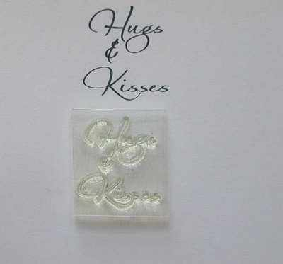 Hugs & Kisses, script stamp