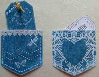 denim and lace pockets