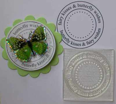 Fairy & Butterfly sentiment circle stamp